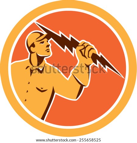 Illustration of an electrician construction worker looking up holding a lightning bolt viewed from the side set inside circle done in retro style on isolated background. - stock vector