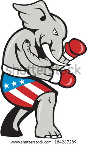 Illustration of an elephant mascot boxer, boxing with gloves viewed from side on isolated background done in cartoon style.
