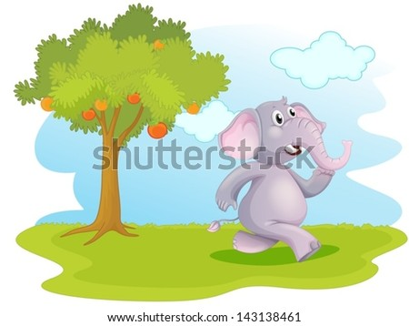 Illustration of an elephant running near the orange tree on a white background - stock vector