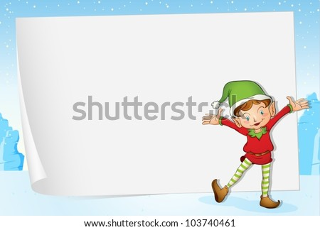 Illustration of an elf on christmas paper background - stock vector