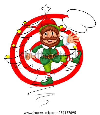 Illustration of an elf with christmas background - stock vector