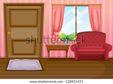 Illustration of an empty living room - stock vector