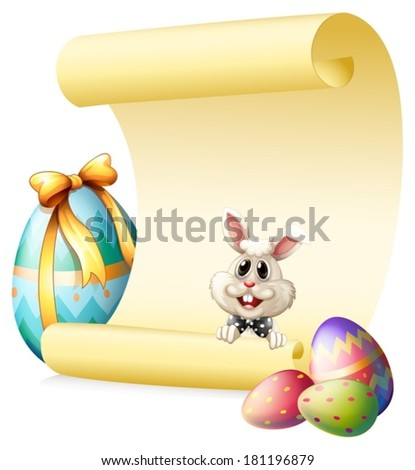 Illustration of an empty paper template with a bunny and Easter eggs on a white background - stock vector