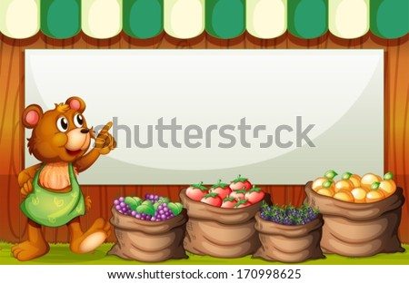 Illustration of an empty rectangular template with a bear selling fruits - stock vector