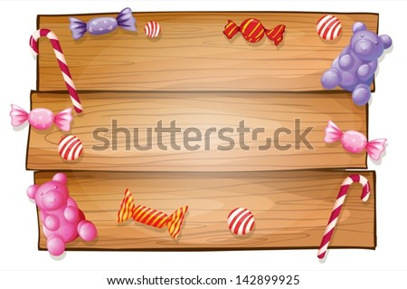 Illustration of an empty signboard with candies on a white background - stock vector