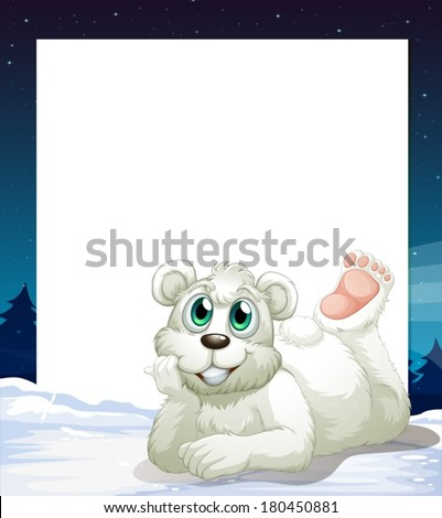 Illustration of an empty template with a smiling polar bear at the bottom - stock vector
