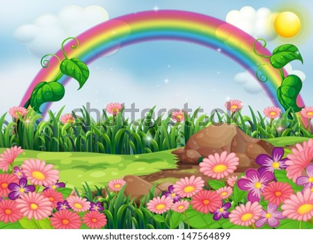 Illustration of an enchanting garden with a rainbow - stock vector