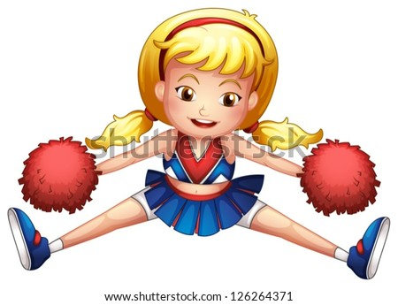 Illustration of an energetic cheerleader on a white background - stock vector