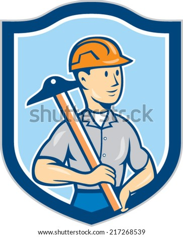 Illustration of an engineer architect draftsman standing holding t-square on shoulder looking to the side set inside shield crest on isolated background done in cartoon style.