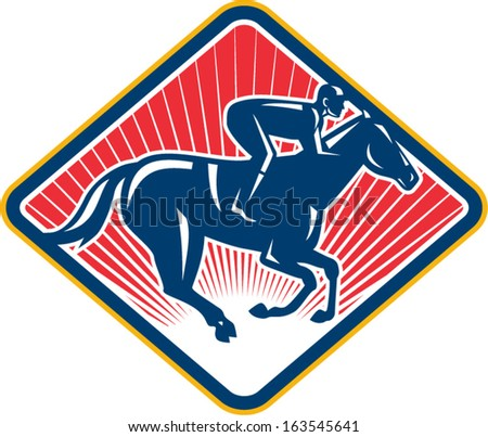 Illustration of an equestrian sport of horse and jockey racing set inside diamond shape on isolated white background done in retro style. - stock vector