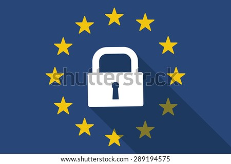 Illustration of an European Union long shadow flag with a lock pad - stock vector