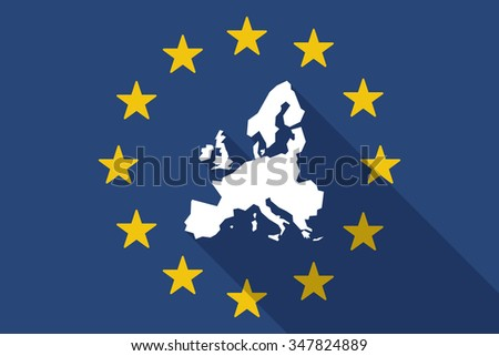 Illustration of an European Union  long shadow flag with  a map of Europe  - stock vector