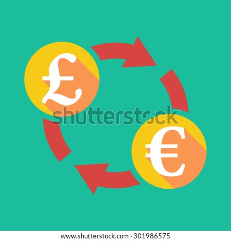 Illustration of an exchange sign with a pound sign and an euro sign