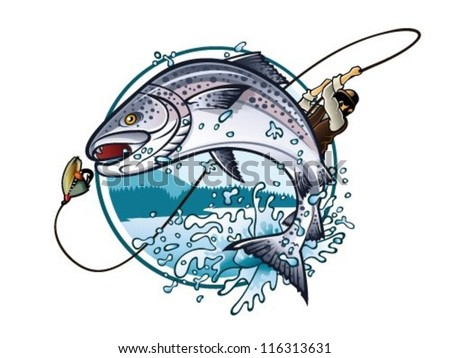 Illustration of an fisherman is pulling fishing rod while salmon jumping to catch the bait on the lake - stock vector