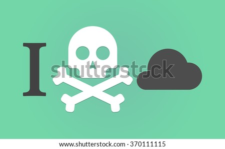 """Illustration of an """"I don't like"""" hieroglyph with a cloud - stock vector"""