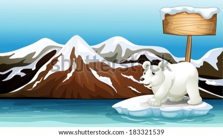 Illustration of an iceberg in the ocean with an empty signboard and a Polar bear - stock vector