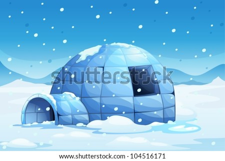 Illustration of an icy igloo - stock vector