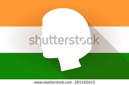 Illustration of an India flag icon with a female head