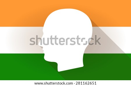 Illustration of an India flag icon with a male head