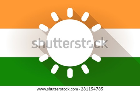 Illustration of an India flag icon with a sun - stock vector