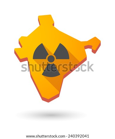 Illustration of an India map icon with a  radioactive danger sign - stock vector