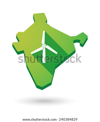 Illustration of an India map icon with a  wind generator - stock vector