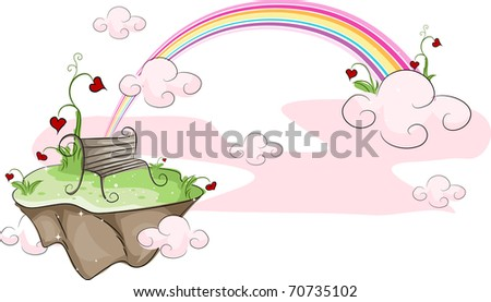 Illustration of an Island with a Rainbow in the Background