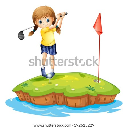 Illustration of an island with a young girl playing golf on a white background - stock vector