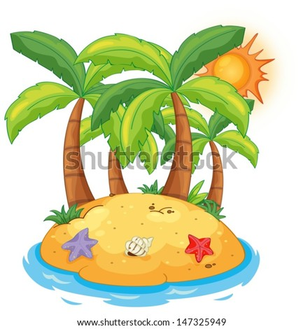 Illustration of an island with coconut trees on a white background  - stock vector