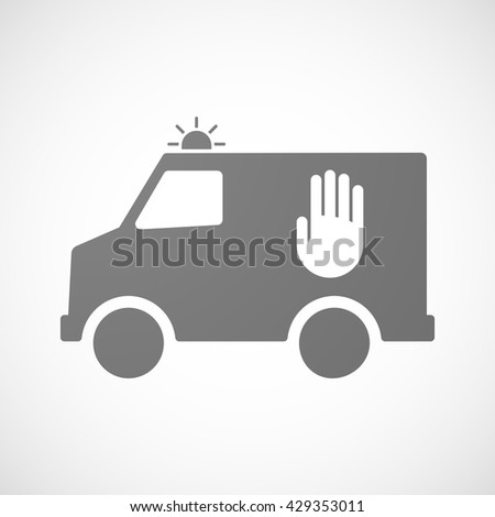 Illustration of an isolated ambulance icon with a hand