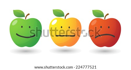 illustration of an isolated apple icon set with emoticons - stock vector