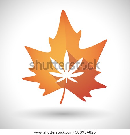 Illustration of an isolated autumn leaf icon with a marijuana leaf - stock vector