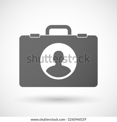 Illustration of an isolated briefcase icon with a male avatar
