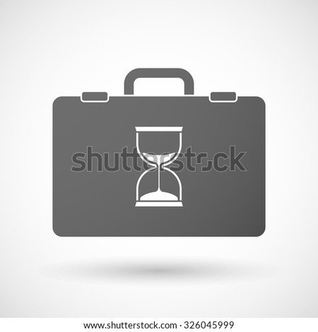 Illustration of an isolated briefcase icon with a sand clock - stock vector