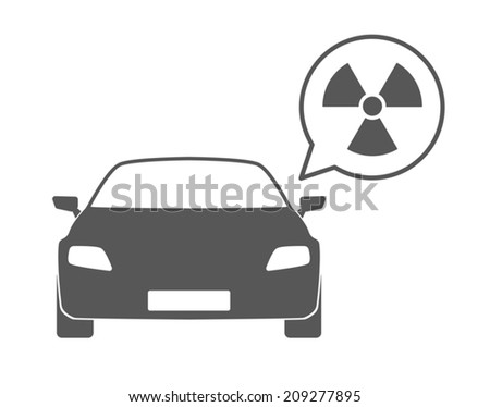 Illustration of an isolated car silhouette with a comic balloon and an icon - stock vector
