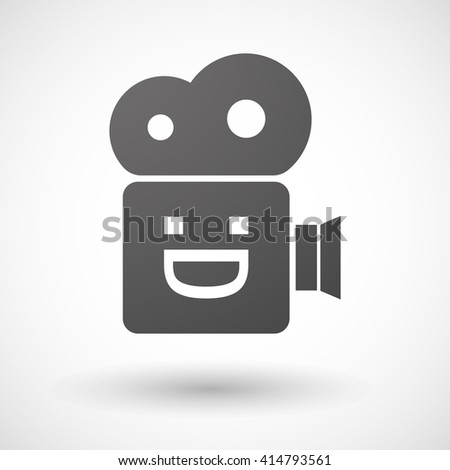 Illustration of an isolated cinema camera icon with a laughing text face - stock vector