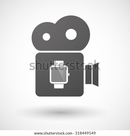 Illustration of an isolated cinema camera icon with a smart watch - stock vector