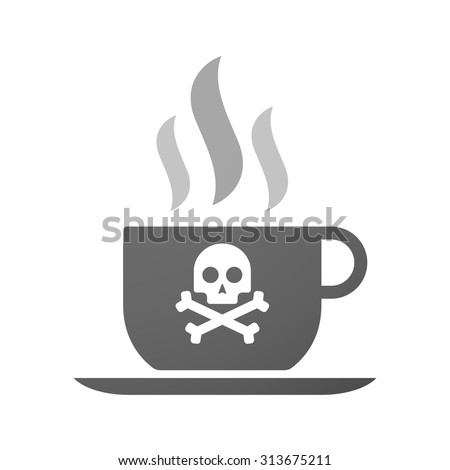 Illustration of an isolated cup of coffee with a skull - stock vector
