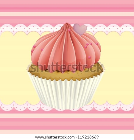 Illustration of an isolated cupcake and a wallpaper - stock vector