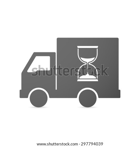 Illustration of an isolated delivery truck icon with a sand clock - stock vector