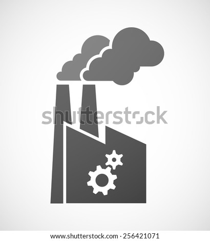 Illustration of an isolated factory icon with a gears - stock vector