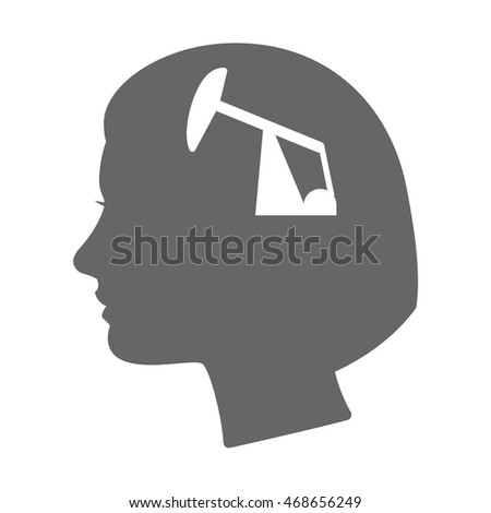 Illustration of an isolated female head silhouette icon with a horsehead pump