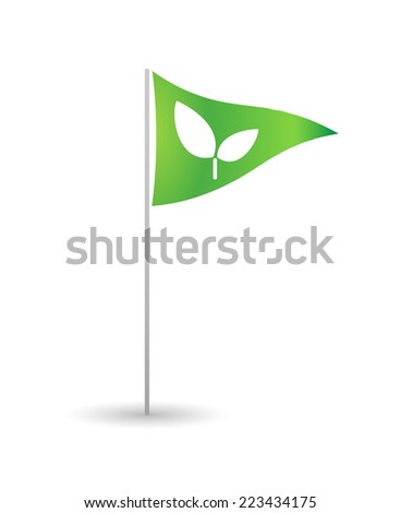 Illustration of an isolated flag with a plant - stock vector