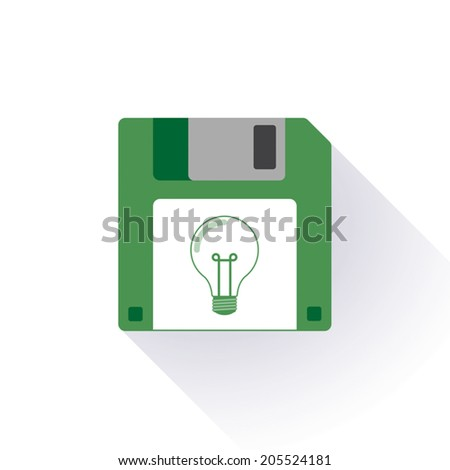 Illustration of an isolated floppy disk with an icon - stock vector