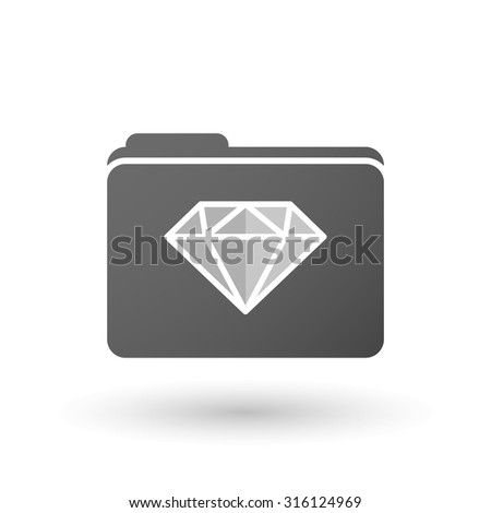 Illustration of an isolated folder with a diamond - stock vector