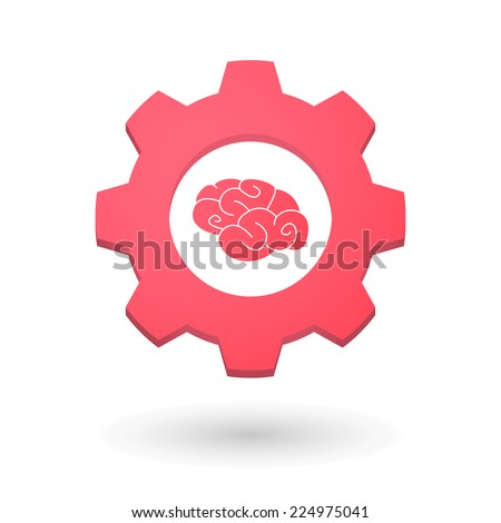 Illustration of an isolated gear icon with a brain - stock vector