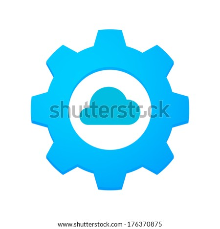 Illustration of an isolated gear with an icon