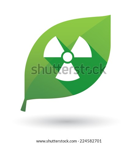 Illustration of an isolated green leaf icon with a radioactivity sign - stock vector