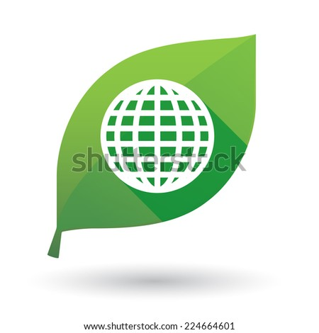 Illustration of an isolated green leaf icon with a world glove sign