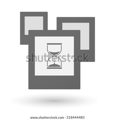 Illustration of an isolated group of photos with a sand clock - stock vector